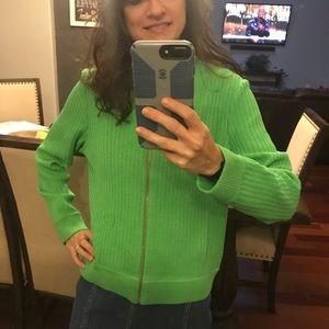 St. John sport green zip up santana sweater